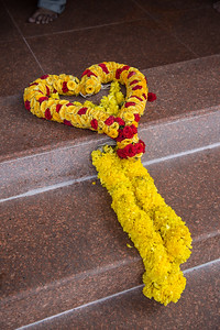 On the steps of the Sri Veeramakaliamman Temple