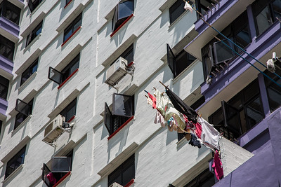 This is how you hang laundry in a high rise apartment building.