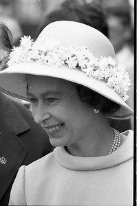 A smiling Queen Elizabeth greets excited crowds in Fredericton, New Brunswick, during a Canadian tour in 1976