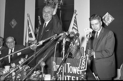 Prime Minister John Diefenbaker speaks at a political gathering in the Royal Towers Hotel, New Westminster. BC. (CP Wirephoto) 1966 (Wally Hayes)