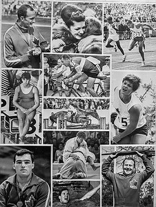 The day before the end of the 1967 Pan American Games in Winnipeg , which I was covering as a photographer with The Canadian Press, I decided to put together a collage of images of Canada's medal winners, Being in the days of file, long before Photoshop and computer magic was possible, I made individual prints of each medal winner, cut them out and pasted them together to form this collage which I them photographed two make a print for transmission by Wirephoto. Unfortunately for me, on the day the Games ended and I was getting set to send my photo to newspapers across Canada, the Canadian equestrian team won a gold medal. I had to quickly round up a picture of the winner and insert it into my collage. This is the finished result which appeared in a large number of newspapers at the time. What could be accomplished today in a matter of minutes on a computer took me many hours of assembly and darkroom work. (CP Wirephoto) 1967 (Wally Hayes)