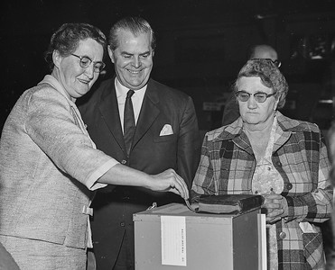 Premier W.A.C. Bennett and his wife May cast ballots in Kelowna on election day Sept. 12, 1966. The premier was re-elected when his Social Credit party won 33 of the 55 seats in the Legislature. (CP Wirephoto) 1966 (Wally Hayes)