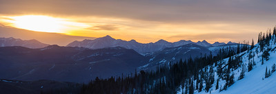 Sunrise above the high peaks of the Lost River Range.