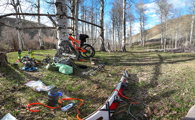 After five miles of grueling riding we decided to transition in this nice aspen grove camp.