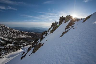 Sun peeks over the east ridge of Bowery Peak.  7:56 AM