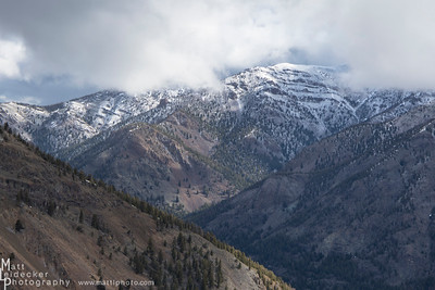 Volcanic lava flows top several of the peaks across West Pass Creek.