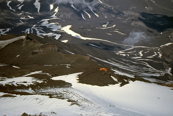 Paraglider landing at the Avachinsky Volcano - Kamchatka, Russian Federation - Summer 1993
