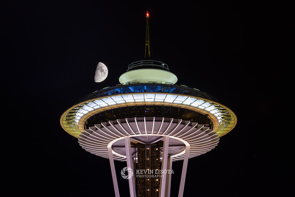 Moon over Seattle's Space Needle