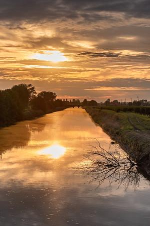 Canale della Bonifica Reggiana Mantovana - San Benedetto Po, Mantova, Italy - October 4, 2019