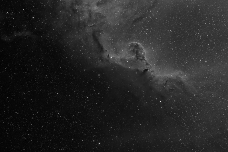 Widefield view of the area around Barnard 30<br /> <br /> ~7.5 hours of Ha (15 x 30 minutes)<br /> <br /> Date: 1/18/2012, 1/19/2012<br /> <br /> Telescope: Takahashi FSQ-106ED with CAA<br /> Mount: Astro-Physics Mach1GTO<br /> Guider: Meade DSI Pro through Astrodon MMOAG<br /> CCD: Finger Lakes Instruments ML11002 CCD, with 65mm shutter<br /> Fiter Wheel: Finger Lakes Instruments CFW-2-7<br /> Filters: Baader 50.8mm 7nm Hydrogen Alpha<br /> <br /> Software: MaximDL, Registar, Photoshop CS3 with Carboni & GXT<br /> Location: Light polluted back yard in El Paso, Texas <br /> <br /> Polar Alignment: PoleAlignMax