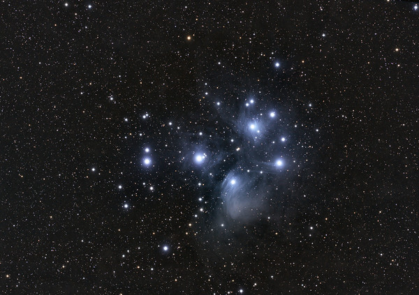 M45 - The Pleiades  Date: 11/28/11  This is a combination of 2 night of data. RGB - 10 x 1min each LRGB - 5 x 5 minutes each  Calibration 20,20,20  Telescope: Takahashi FSQ-106ED with CAA Mount: Astro-Physics Mach1GTO Guider: Meade DSI Pro through Astrodon MMOAG, with 2 Px dither CCD: Finger Lakes Instruments ML11002 CCD, with 65mm shutter Fiter Wheel: Finger Lakes Instruments CFW-2-7 Filters: Baader 50.8mm LRGB  Software: MaximDL, Registar, Photoshop CS3 with Carboni & GXT Location: Light polluted back yard in El Paso, Texas  Polar Alignment: PoleAlignMax