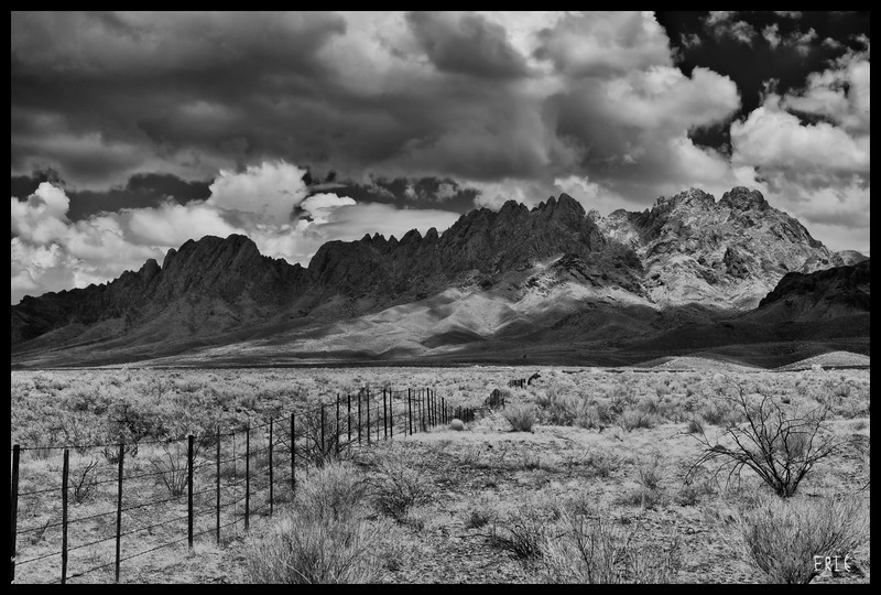 Fenced Beauty <br /> <br /> Organ Mountains, near Las Cruces, NM<br /> <br /> Date:July 7, 2012<br /> <br /> Camera: Full Spectrum converted Canon 40D<br /> Lens: Canon EF24-70 f2.8L<br /> Filter:Astronomik Proplanet 742 Clip-in<br /> Tripod: Induro AT313 with BH-2 Ball Head<br /> Exposure: ISO 100, f11, 1/60 sec