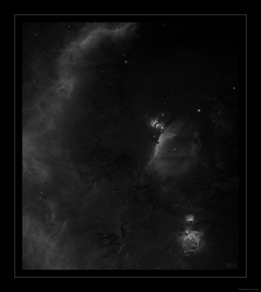 The Orion Complex -  Hydrogen Alpha<br /> This is an Orion 8-frame mosaic of the Orion area. <br /> Full Image - 7400 x 8400 pixels or about 62 megapixels<br /> <br /> Total Exposure time - 30 hours @ -30C<br /> <br /> This image is 8 frames and was shot over 9 nights<br /> Date: 1/12/11, 1/10/11, 1/13/11, 1/17/11, 12/31/10, 1/24/11, 1/26/11, 12/24/10, 12/25/10 <br /> <br /> Telescope: Takahashi FSQ-106ED with CAA<br /> Mount: Losmandy G11 Gemini with Ovision Worm<br /> Guider: Meade DSI Pro through Astrodon MMOAG with 2 Pixel Dither<br /> CCD: Finger Lakes Instruments ML11002 CCD, with 65mm shutter<br /> Fiter Wheel: Finger Lakes Instruments CFW-2-7<br /> Filters: Baader 50.8mm Hydrogen Alpha<br /> <br /> Software: MaximDL, Registar, Photoshop CS3 with Carboni & GXT<br /> Location: Light polluted back yard in El Paso, Texas<br /> <br /> Polar Alignment: Polar Alignment Scope only
