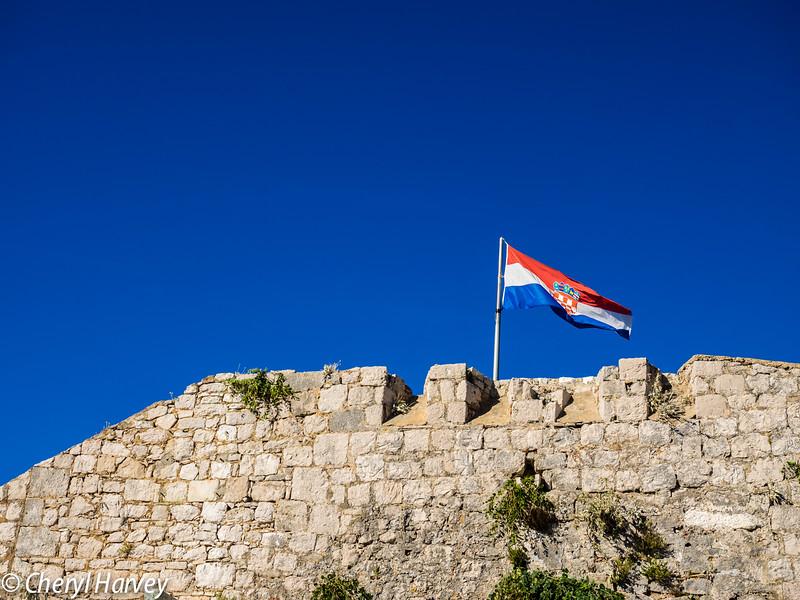 Croatian Flag Over Hvar
