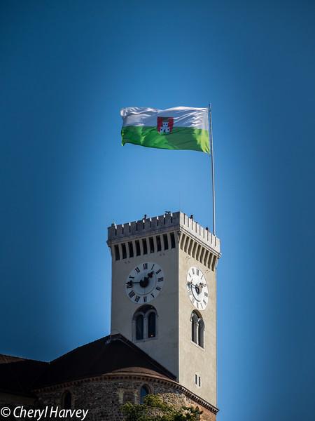 Ljublijana's Flag Over Its Castle