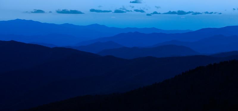 Layered blue ridges