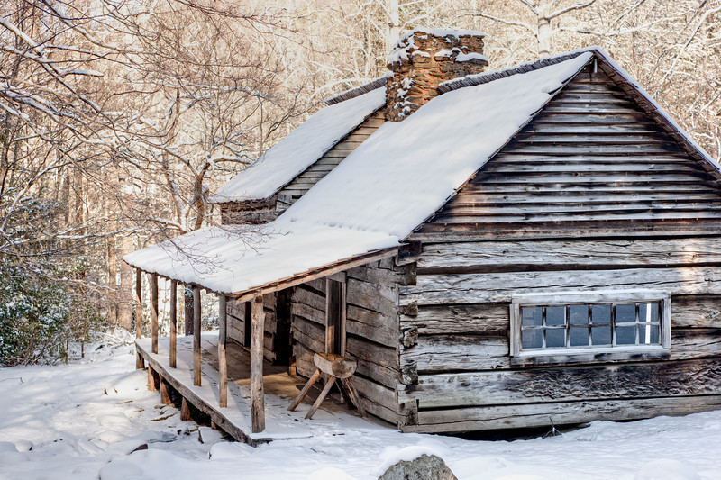 """Bud Ogle Cabin in winter  along the Roaring Fork in the Great Smoky Mountains National Park. Lots more <a style=""""color: #aaccee"""" href=""""http://williambritten.com/"""">Smoky Mountains Photos</a> and info over on my blog."""