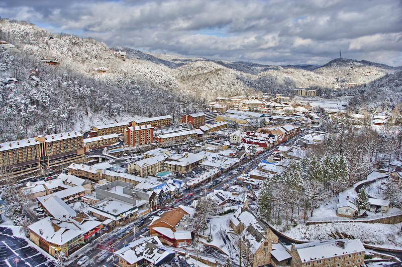 """Downtown Gatlinburg, TN, in winter with snow. Lots more <a style=""""color: #aaccee"""" href=""""http://williambritten.com/"""">Smoky Mountains Photos</a> and info over on my blog."""