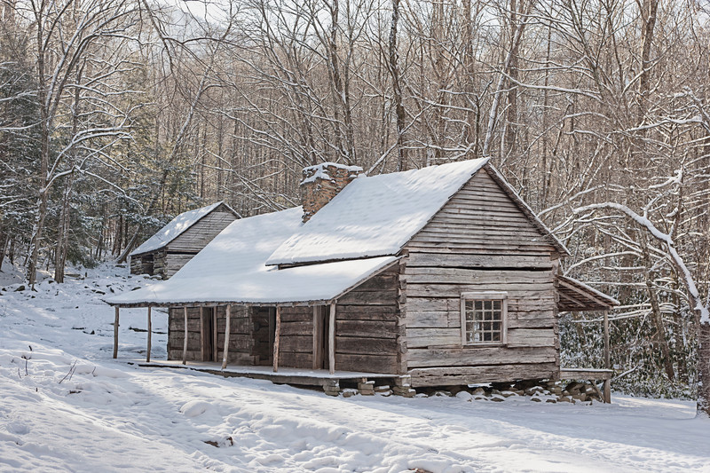 "Bud Ogle Cabin in winter  along the Roaring Fork in the Great Smoky Mountains National Park. Lots more <a style=""color: #aaccee"" href=""http://williambritten.com/"">Smoky Mountains Photos</a> and info over on my blog."