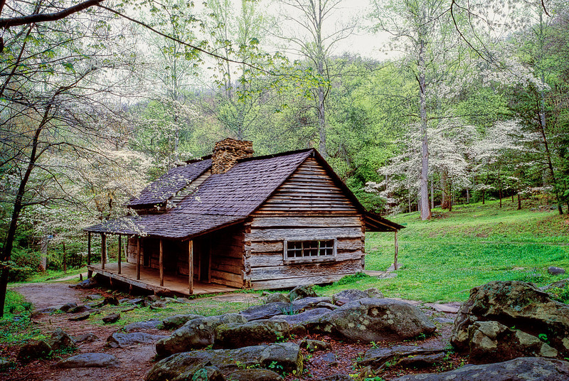 """Bud Ogle's Cabin An early settlers cabin along the Roaring Fork Motor Trail in the Great Smoky Mountains National Park. Lots more <a style=""""color: #aaccee"""" href=""""http://williambritten.com/"""">Smoky Mountains Photos</a> and info over on my blog."""