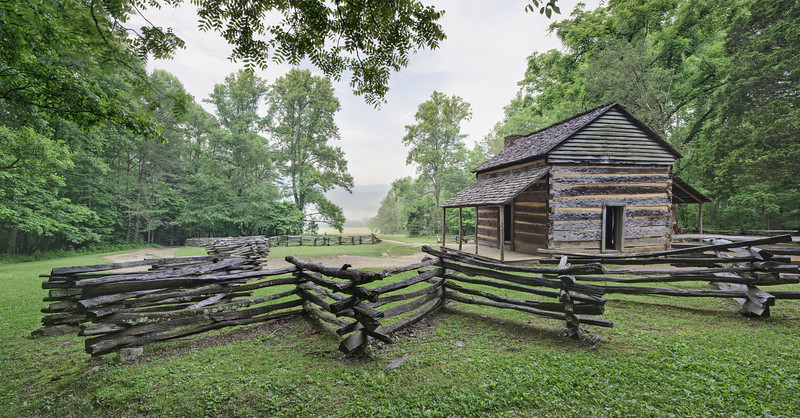 """John Oliver Cabin Panorama Lots more <a style=""""color: #aaccee"""" href=""""http://williambritten.com/"""">Smoky Mountains Photos</a> and info over on my blog."""