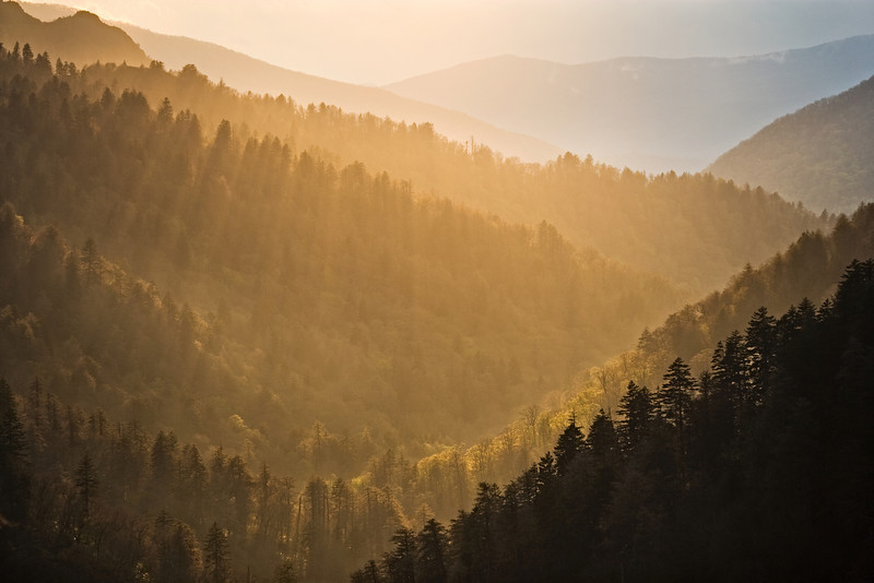 """Spiritual Light Sunset at Morton's Overlook in the Great Smoky Mountains. Lots more <a style=""""color: #aaccee"""" href=""""http://williambritten.com/"""">Smoky Mountains Photos</a> and info over on my blog."""