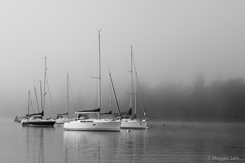 Boats in the Mist, Cumbria, England