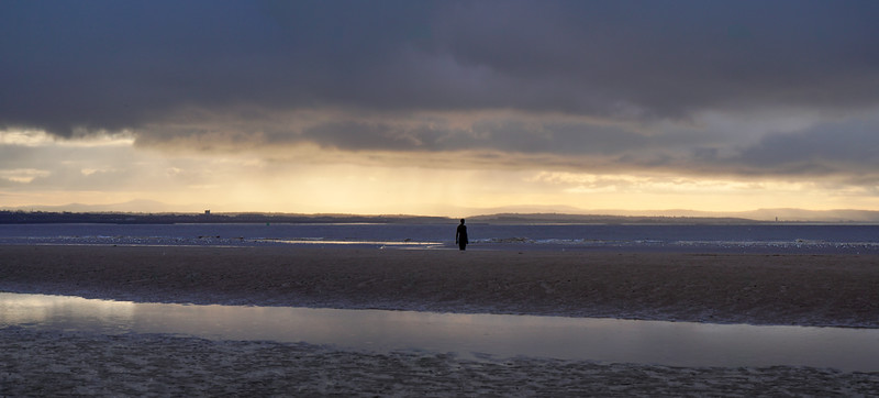 Wirral viewed from Crosby, and Antony Gormley's Another Place