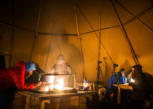 Warming up inside the teepee