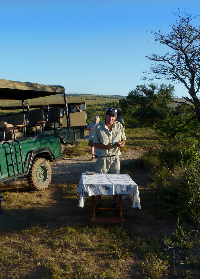 Safari life is rough. Rodger pulls out the Castle and biltong.