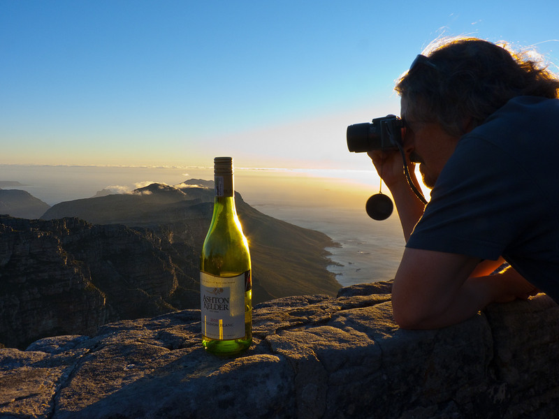 Local SA wine, a sunset, misty mountains....perfect moment