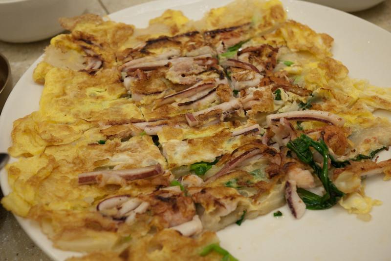 Haemul Pajeon, or seafood pancake.