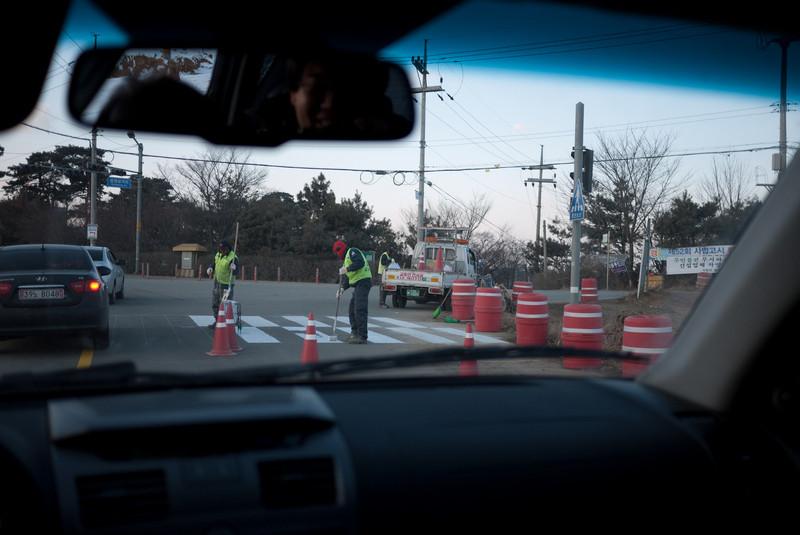 South Korean road line painters.