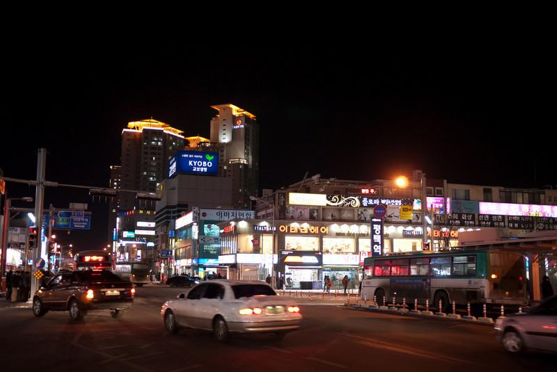 Street & buildings next to Pyeongtaek Station.