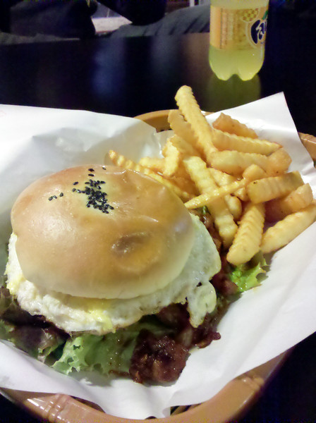 A Capone Spicy Burger from a Korean American restaurant called Chicago in Anjung-ri. It was basically spicy bulgogi on a bun with an egg. The fries were merely OK. The meat would have been better over rice...