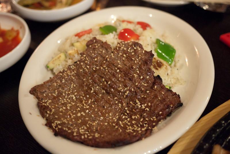 Beef fried rish dish at the GGO GGI restaurant.