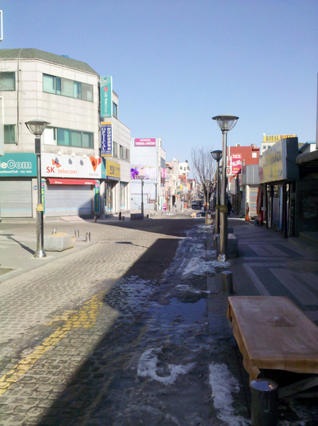 The street leading away from the Humphreys walk through gate in Anjeong-ri.