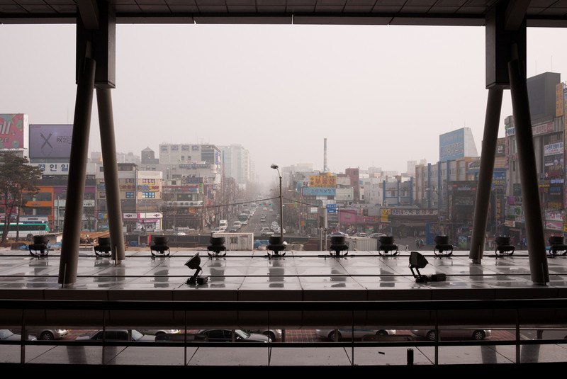 The view looking east from Suwon Station.