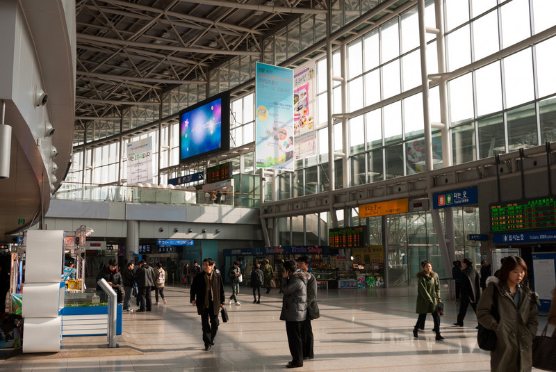Inside Seoul Station.