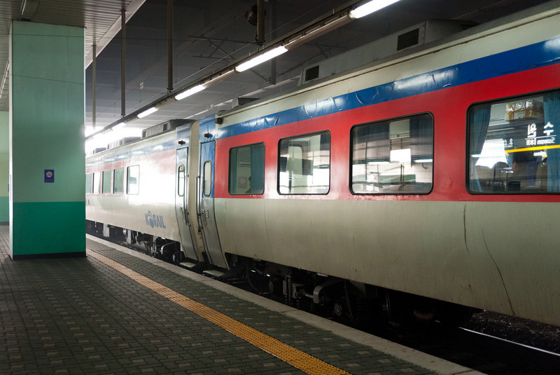 The Mugunghwa train on the platform at Suwon station.