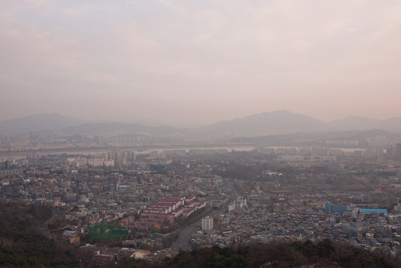 View from the plaza below N Seoul Tower.  USAG Yongsan occupies the righthand portion of this scene.