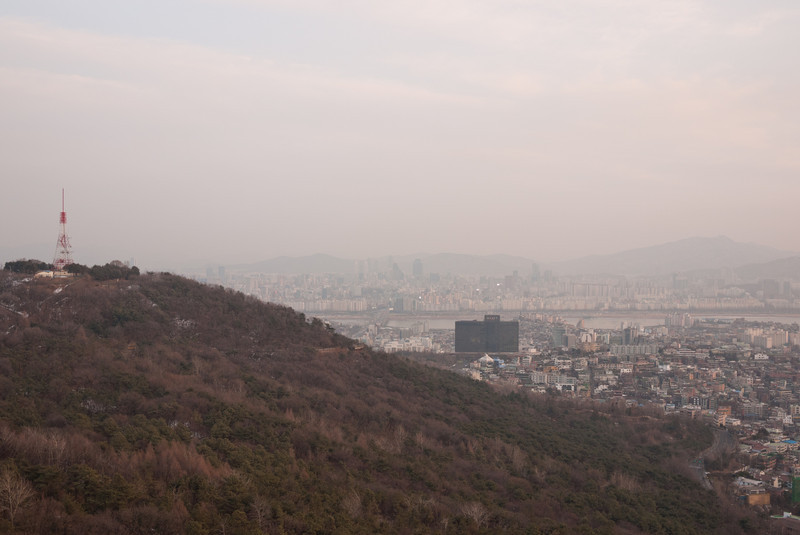 View from the plaza below N Seoul Tower.