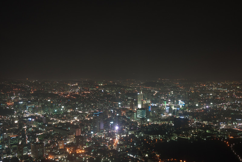 Night view from the observation deck atop the N Seoul Tower.