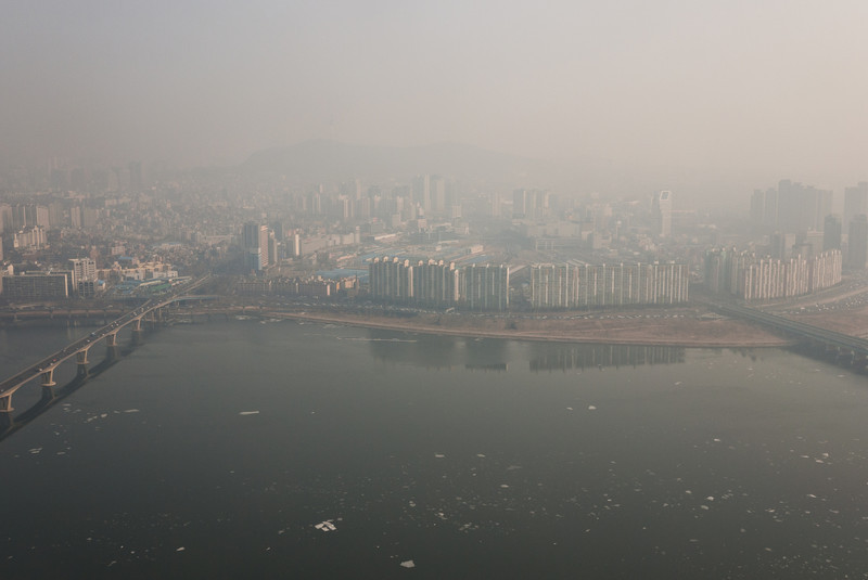 Looking across the Han River from atop the 63 City building.
