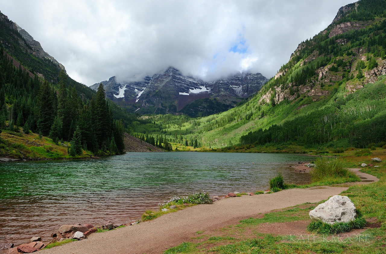 Maroon Bells misty morning, Aspen, Colorado