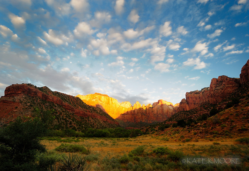 Sunrise over the Court of the Patriarchs, Zion National Park