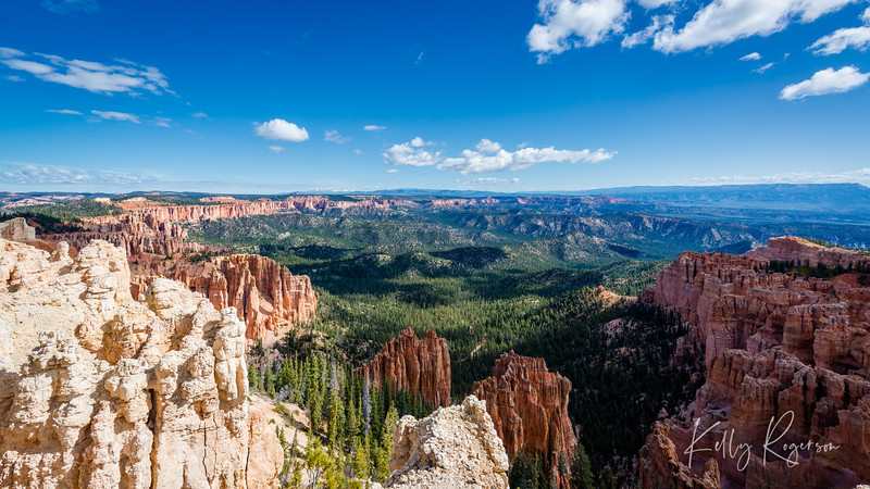Looking out over the valley of Bryce Canyon on a sunny morning.