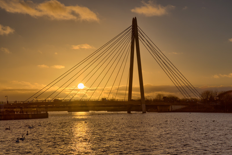 Marine Way Bridge Sunset