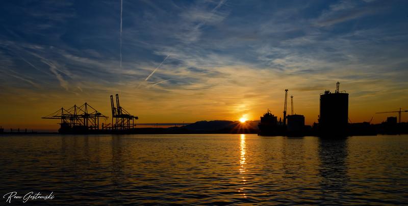 Malaga docks at sunset