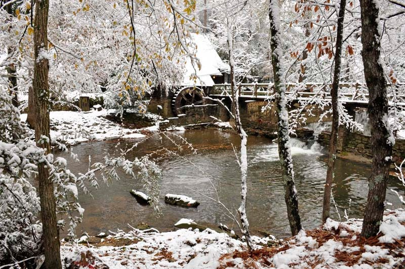 Old Mill in Snow